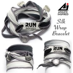 Run Inspired with laugh & love charms on silk wrap bracelet - black & white with shades of gray, button clasp. @ath_inspired #run