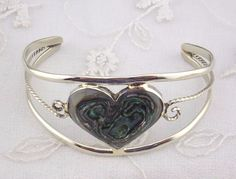 Alpaca Mexican Silver Cuff Bracelet Abalone Shell  Heart Fashion Jewelry NEW #Unbranded #Bangle