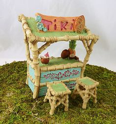 Dollhouse Miniature Fairy Garden HALF SCALE Tiki Bar w/Stools, 17306 in Dolls & Bears,Dollhouse Miniatures,Home Décor | eBay