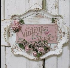 """Shabby Chic Tray Sign """"Vintage Rose"""""""