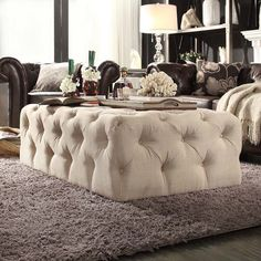 Knightsbridge Rectangular Linen Tufted Cocktail Ottoman with Casters by iNSPIRE Q Artisan (beige linen) (Foam) Living Tv, Living Rooms, Family Rooms, Cozy Living, Tufted Ottoman, Ottoman Table, Cocktail Ottoman, Sofa End Tables, Contemporary Decor