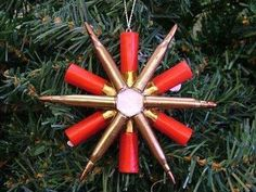Christmas ornament made out of bullet shells! Love!