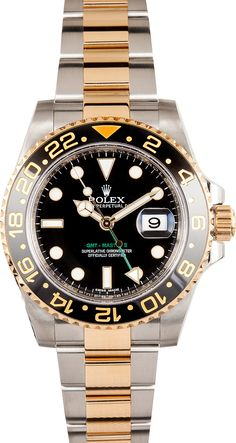 Used Rolex GMT Master II Stainless Steel and Gold Mens 116713