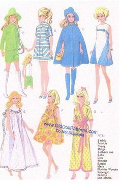 Album sous forme d& Sewing Barbie Clothes, Barbie Sewing Patterns, Sewing Dolls, Doll Clothes Patterns, Doll Patterns, Clothing Patterns, Diy Clothes, Vintage Patterns, Barbie Fashion Sketches