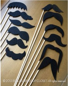 12 REUSABLE Mustaches on a Stick Party Photo by BellaBooSmile, $15.95