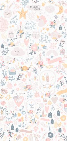66 Ideas For Flowers Illustration Pattern Design Art Prints Iphone Background Wallpaper, Pastel Wallpaper, Aesthetic Iphone Wallpaper, Flower Wallpaper, Aesthetic Wallpapers, Girl Wallpaper, Rabbit Wallpaper, Screen Wallpaper, Cute Wallpaper Backgrounds