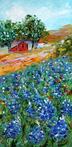 Original oil painting TEXAS BLUEBONNET LANDSCAPE by Karensfineart