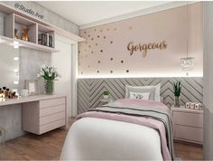 """Teens have unique ideas of what they consider as """"cool bedrooms."""" Teen bedroom themes reflect things such as their personalities, aspirations, and ideas. Study Room For Teenager Cute Bedroom Ideas, Trendy Bedroom, Bedroom Themes, Modern Bedroom, Contemporary Bedroom, Modern Wall, Teenage Girl Bedrooms, Bedroom Girls, Teen Bedroom Colors"""