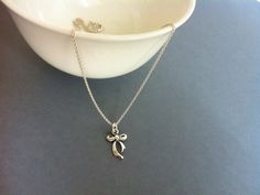 Silver bow necklace bridesmaid necklace by Bleuberie on Etsy, $30.00