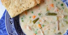 The elements and flavors from classic chicken pot pie - chopped chicken, potatoes, peas and carrots - in a creamy base - in a soup, with pie crust crackers for dipping.