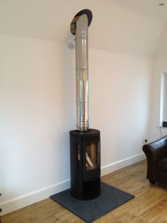 Contura 556 on a square hearth wood burning stove installation from Kernow Fires. Wood Burning Logs, Stove Installation, Slate Hearth, Houses In France, Freestanding Fireplace, Real Fire, Log Burner, Small Places, Room Pictures