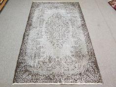 Vintage Oushak Handmade Faded - Grey Overdyed Rug , Soft Pastel patterned rug