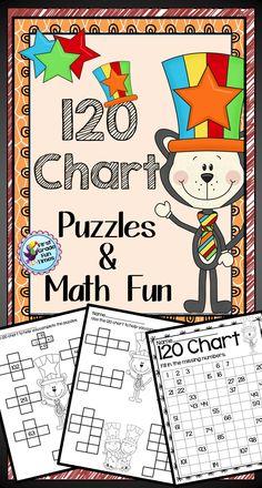 120 Chart Puzzles and Activities - Cat with a Striped hat themed. 19 pages of activities/puzzles. Second Grade Math, First Grade Classroom, Math Classroom, Kindergarten Math, Teaching Math, Grade 1, Maths, Preschool, Math School