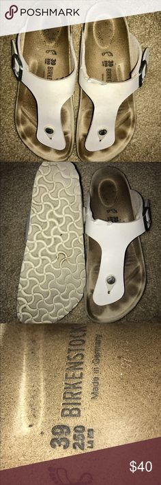 White Birkenstock Gizeh Size 39 White Birkenstock Gizeh Sandals. Worn only a handful of times. Unfortunately chewed a little by a dog but still in great condition considering. My style changed so I simply don't wear them enough and am willing to part ways with them now. Birkenstock Shoes Sandals