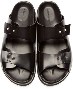 Alexander McQueen Shoes Men's - Black Leather Studded Slip-On Sandals Italian Leather Shoes, Black Leather, Dandy, Sandals 2014, Breaking In Shoes, Black Huarache, Alexander Mcqueen Shoes, Custom Made Shoes, Mens Flip Flops