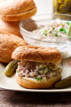 Ham Salad, Salad Sandwich, Sandwich Recipes, Pork Recipes, Hard Boiled, Boiled Eggs, Hamburger Buns, Sandwiches For Lunch, Ham And Cheese