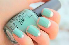 Awesome seafoam and silver mani -short nails -real nails - nail polish - sexy nails - pretty nails - painted nails - nail ideas - mani pedi - French manicure - sparkle nails -diy nails Love Nails, How To Do Nails, Pretty Nails, Moon Manicure, Manicure Y Pedicure, Mani Pedi, Fantastic Nails, Mint Nails, Green Nails