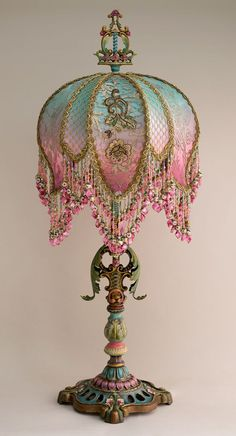Christine Kilger's Nightshades are one-of-a-kind victorian lampshades with hand-beaded shades on period lighting fixtures and are designed and created with rare antique fabrics, appliqués and embellishments circa Victorian Lamps, Antique Lamps, Antique Lighting, Vintage Lamps, Vintage Clocks, Antique Art, Art Deco Table, Deco Retro, Painting Lamps