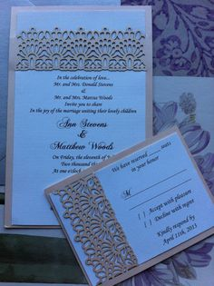 Laser Cut Wedding Invitation Lace belly band by CelineDesigns