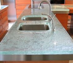 Inexpensive Advantageous Glass Kitchen Countertops : Textured Glass Countertops