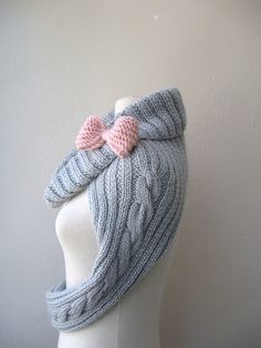 Knit Turtleneck Shrug-cable pattern-light grey mohair-long sleeves by innovation and design, via Flickr