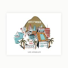A Great Illustration Of The City Angels Featuring Hollywood Sign Capital Records