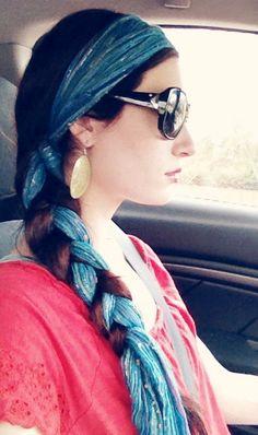 Cool gypsy bohemian hairstyle! Head scarf, headband, hair wrap, braid. #summer #hair