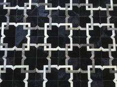 LIFESTYLE by Cara -- Black Grey White Cowhide Patchwork Rug Cow Hide Leather Hairhide Carpet
