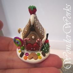 Gingerbread Candy House - 1 Inch Scale OOAK Handmade Christmas Decor