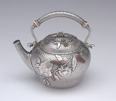 Teapot of the The Bowers/ Taft Family Aesthetic Movement Sterling Silver and Mixed-Metal Tête-à-tête Tea Service by Whiting, c. 1887