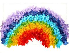 Giant tissue paper rainbow for the Noah unit. I'd redo the colors, though, so it is in proper ROY G BIV order.