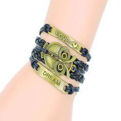 Retro Owl Bracelet,  Multi-layer Leather Combination Bracelet Men's Dream Bracelet Bracelet