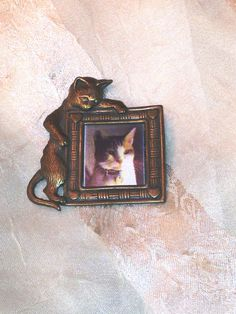 Vintage Designer Cat Frame Brooch Insert Your Own Photo from NorthCoastCottage Jewelry Design & Vintage Treasures, $49.00
