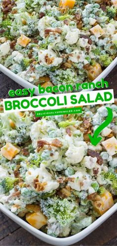 You are going to love this best summer salad! Easy Bacon Ranch Broccoli Salad is packed with healthy and delicious veggies. It would also be a great 4th of July salad idea. This homemade salad recipe… Potluck Recipes, Side Dish Recipes, Veggie Recipes, Summer Recipes, Easy Drink Recipes, Salad Recipes, Keto Recipes, Side Dishes, Bacon Ranch Pasta Salad