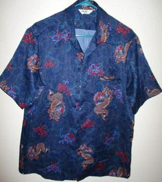 Men's Hawaiian Aloha Shirt TORI RICHARD Short Sleeves Navy