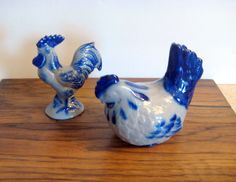 EarthenWare Rooster and Hen, Handmade Ceramic Rooster and Hen,Blue Vintage…