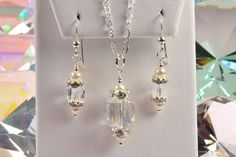 Swarovski Crystal Set Freshwater Pearls Necklace and by Gemsicles