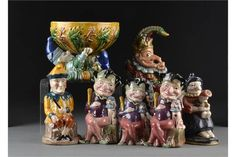 Pottery Punch and Judy items: three graduated Melba Ware Mr Punch and Toby toby jugs - Punch And Judy, Traditional Toys, The Saleroom, Snow Globes, Theatre, Graduation, Auction, Teddy Bear, Pottery