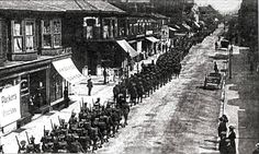 Bn RWF marching down South Road heading for camp at Litherland 1916 Royal Welsh, Down South, World War One, North Wales, Sidewalk, Camping, World War I, Campsite, Side Walkway