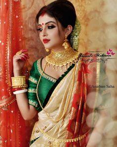 Makeup look for durga puja Bengali Bridal Makeup, Bridal Makeup Looks, Indian Bridal Fashion, Bridal Looks, Bengali Wedding, Indian Wedding Couple, Bengali Bride, Bengali Saree, Beautiful Girl Indian