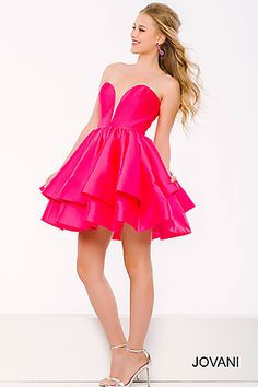 Pink Sweetheart Neck Fit and Flare Short Dress 39475