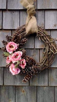 Spring pinecone wreath