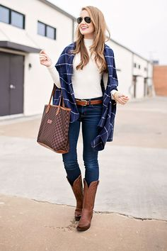 navy plaid wrap | a lonestar state of southern
