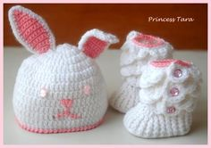 Crocheted baby bunny hat and crocodile stitch baby booties made by Princess Tara