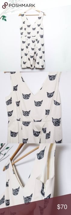 """Anthropologie Leah Reena Cat Dress This dress is so nicely made that I ended up never wearing it because it was too nice. I got a size 8 although I'm usually a 6 and I was glad I did because it can get tight up in the chest area. If you have C's you will fill out this dress, D's you will REALLY fill out this dress. I apologize for the wrinkles, normally I'd steam them out but I didn't want to risk ruining a dress I've never worn. It has a """"fit and flare"""" silhouette. I'm 5ft 5 and it hits me…"""
