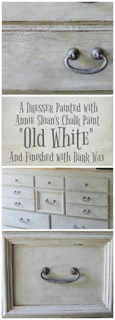 "A dresser painted with Annie Sloan's chalk paint ""Old White"". A mix of dark wax and clear wax was rubbed on after the paint had dried."