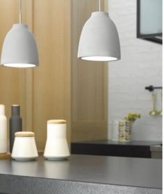 Tadao 1 Flat Top Pendant in Concrete Beacon Lighting - over the island bench in kitchen