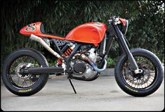 "KTM converted into a ""Cafe Moto"" by RSD.  Kind of a cross  between a cafe racer and a street tracker"