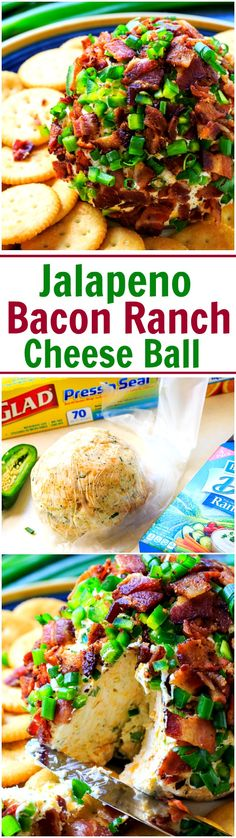 Jalapeno Bacon Ranch Cheese Ball. So easy to make with @hvranch Dip Mix and Glad Press'n Seal. Find them both at @walmart