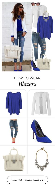 """""""Straight Size to Plus Size - White Blazer / Cobalt"""" by alexawebb on Polyvore featuring Slink Jeans, 3.1 Phillip Lim, Charles by Charles David, BaubleBar, MANGO, plussize, plussizefashion, alexawebb and plus size clothing"""